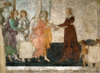 Venus and the Three Graces Presenting Gifts to a Young Woman, 1485. Alessandro FILIPEPI, dit Sandro BOTTICELLI