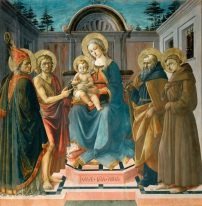 Madonna and Child with SS. Zenobius(?), John the Baptist, Anthony Abbott and Francis of Assisi. c.1455-57, by Francesco di STEFANO dit Pesellino