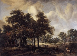 Meindert_Hobbema_-_Wooded_Landscape_with_Cottages_-_WGA11445